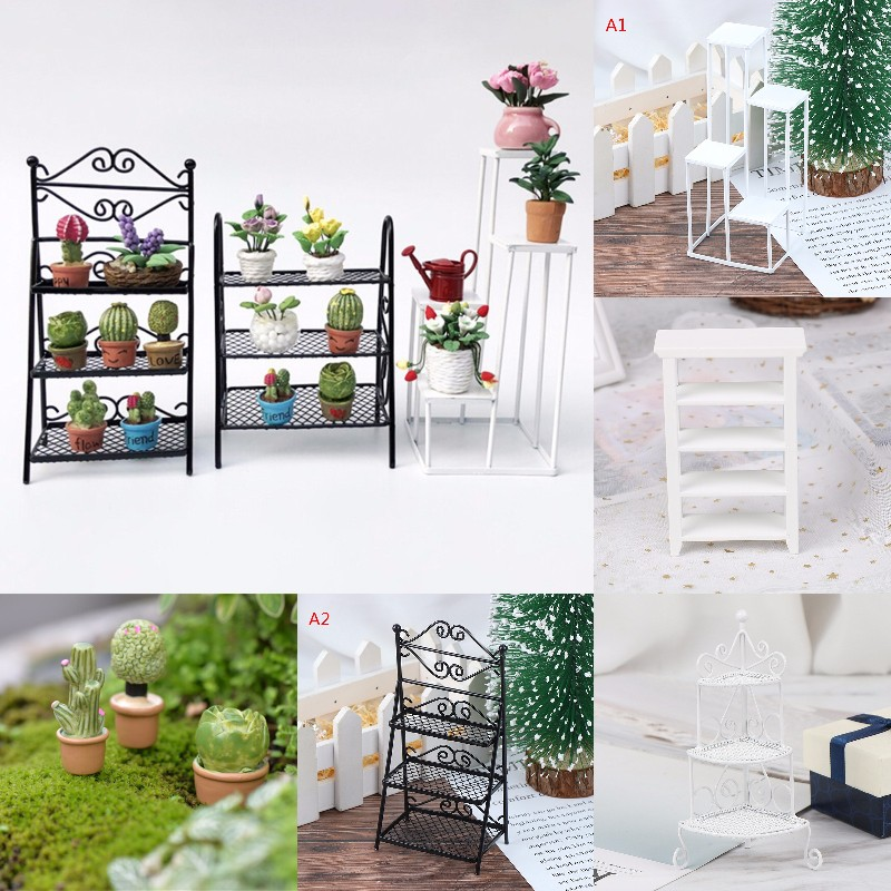 1/12 Dollhouse Miniature Rack Iron Shelf Flower Stand Decoration Accessories Handmade Toys Gift For Kids