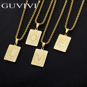 A-Z 26 Initials Pendant Letter Necklace For Women Men Gold Golor Square Alphabet Charm Box Link Chain Dropshipping Jewelry Gift