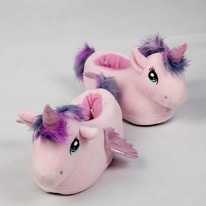Image 1 - FAYUEKEY Women Cartoon pink Unicorn Slippers Girls Winter Plush Warm Home Slippers Indoor Shoes Slippers Cotton female Shoes