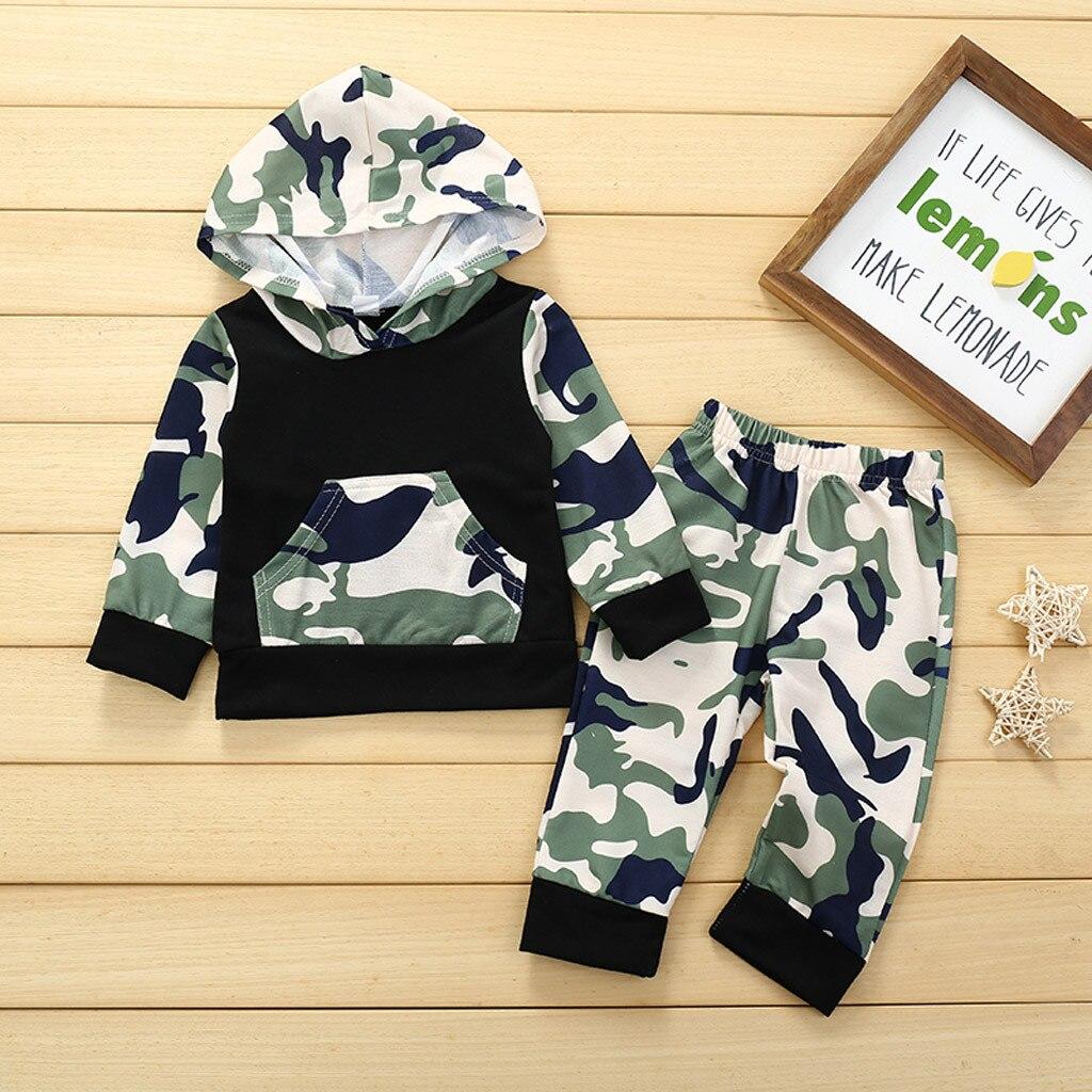 2PCS Newborn Kids Baby Boys Outfits Clothes Hooded T-shirt Tops+Long Pants Set