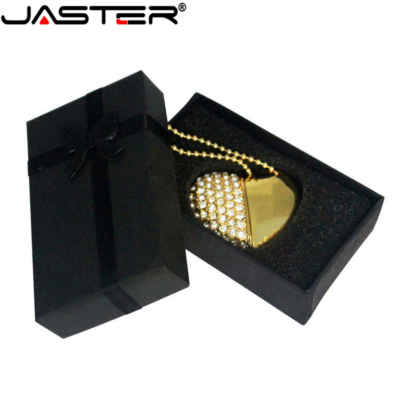 JASTER Crystal Love Heart +box USB Flash  Drive Precious Stone Pendrive 4G/ 8G/ 16G/ 32G /diamante Memory Stick Wedding Gift