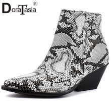 DORATASIA New Western Ankle Boots Women Snake Prints Pointed Toe Ladies Chunky Heels Shoes Woman Plus Size 34-48
