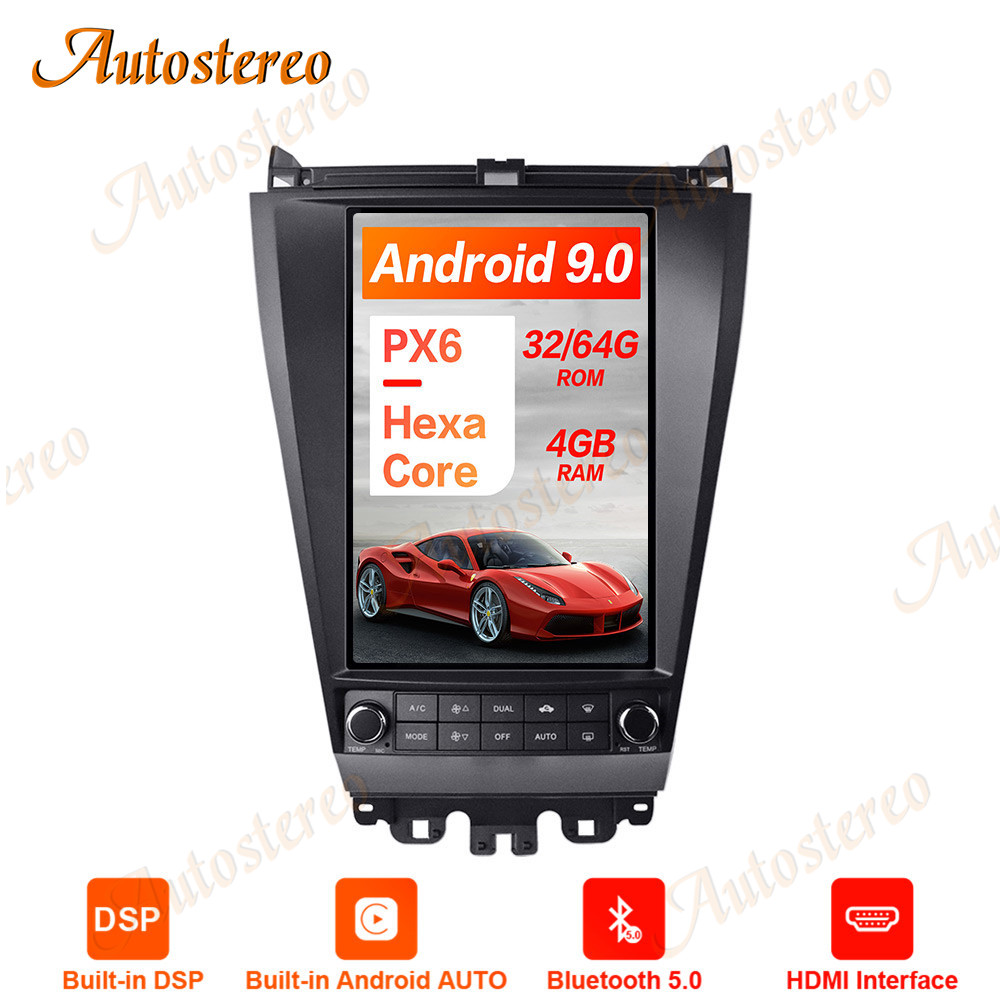 Tesla Style <font><b>Android</b></font> 9.0 PX6 Car No DVD Player GPS Navigation For <font><b>Honda</b></font> <font><b>Accord</b></font> 7 Stereo Headunit Multimedia Player Auto <font><b>Radio</b></font> DSP image