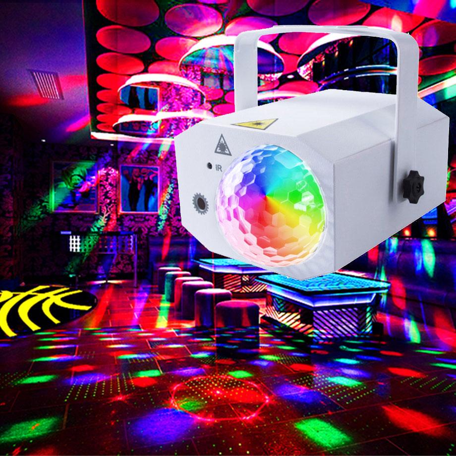 Led Disco Magic Light Ball RGB Party Sound Lights Laser Projector For DJ Bar Club Karaoke  128 Patterns Stage Lighting Strobe