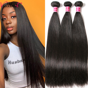 Vallbest Peruvian Straight Hair Human Hair Bundles Remy Hair Extensions Natural Black & Jet Black 100g/piece Machine Double Weft