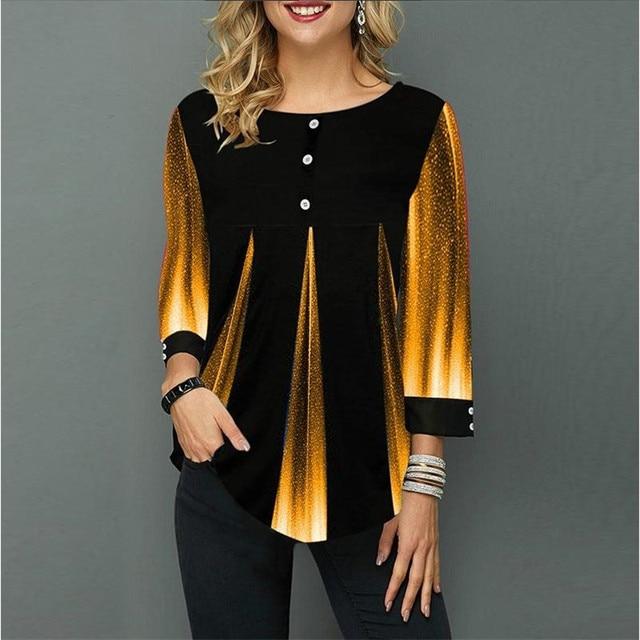 Shirt Women Spring Summer Blouse 3/4 Sleeve Casual 3D Gradient Printing Female Fashion Shirt Tops Plus Size 5XL StreetShirt 3