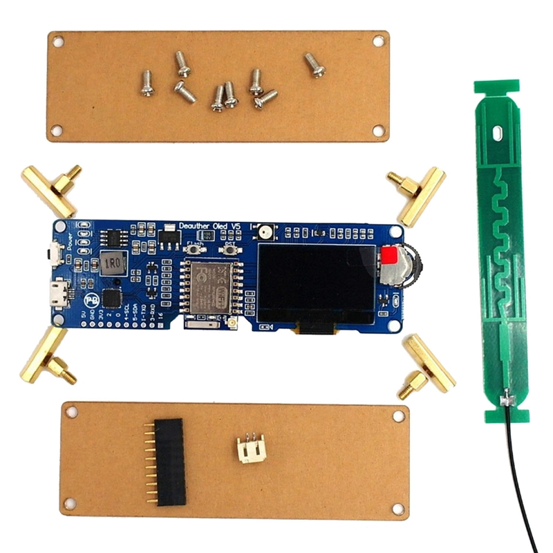 Wifi Deauther Oled V5 Esp8266 Development Board 18650 Battery Polarity Protection Case Antenna 4Mb