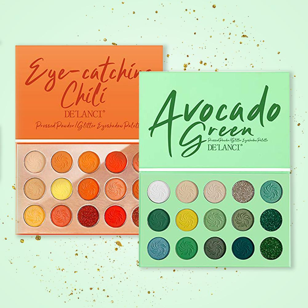 Avocado Green Eye Shadow Palette 15-Color Matte Shimmer Glitter Makeup Cosmetic Long-lasting Eye Shadow