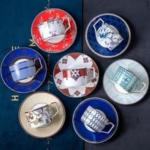 European elegant ceramic coffee cup dish painted gold edge British retro wind afternoon tea set spoon