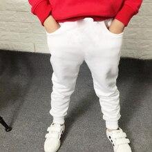 Yeni 2019 çocuk Boys spor pantolonları çocuk uzun pantolon pamuk bahar Sweatpants genç Casual katı beyaz ve siyah Sweatpants