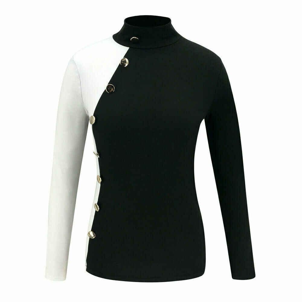 女性のセーター 2020 秋冬のファッション長袖ボタンソリッドタートルネックストレッチセータープルオーバー