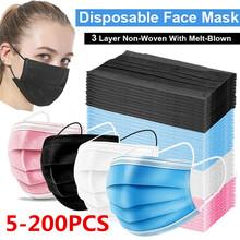 5-200 sztuk maska jednorazowe Nonwove 3 warstwy maska z filtrem maska ochronna na twarz filtr bezpieczne oddychające czarne maski ochronne szybka wysyłka tanie tanio jiansu CN (pochodzenie) NONE Non-woven fabric + melt-blown fabric + non-woven fabric 3 Layer Ply Filter Mask masks Blue Black White Pink