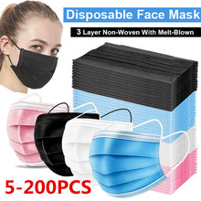 5-200pcs Mask Disposable Nonwove 3 Layer Filter Mask mouth Face mask filter safe Breathable Black Protective masks Fast Shipping