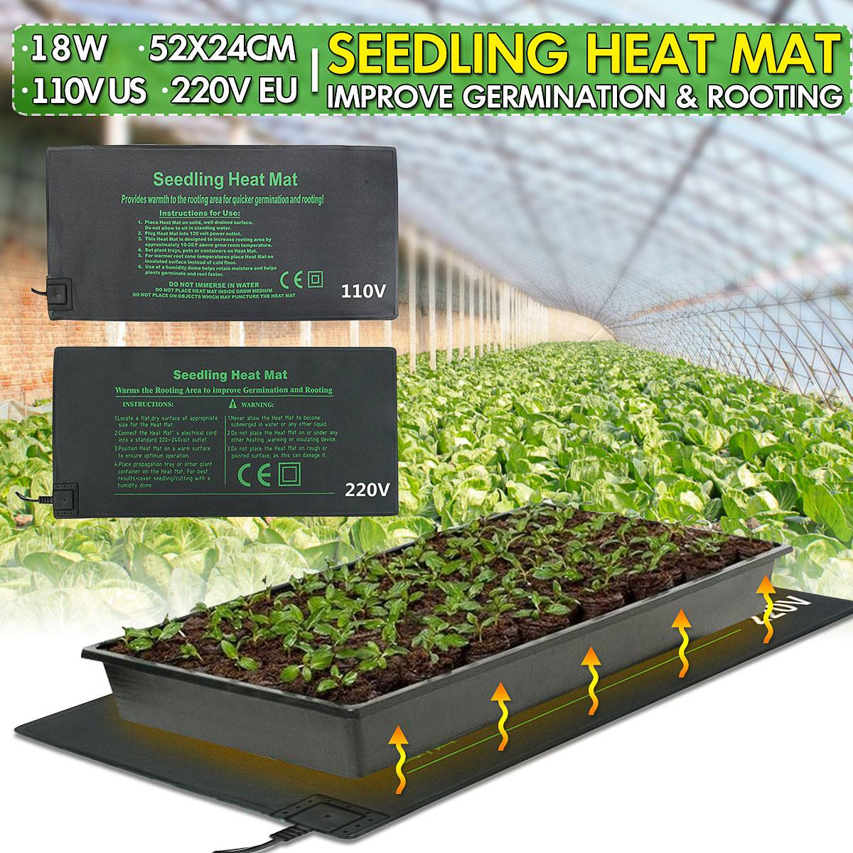 Seedling Heat Mat Plant Seed Germination Propagation Clone Starter Warm Pad Mat Vegetable Flowers Garden Tool Supplies 24x52cm