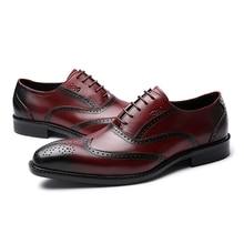 בעבודת יד אמיתי נעלי עור גברים חתונה מבטא אירי אוקספורד כנף תחרה עד בורדו משרד המפלגה זכר נעליים רשמיות