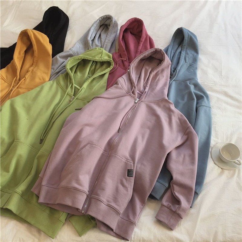 Harajuku with hat hoodies women zipper kangaroo pocket casual loose solid color sweatshirt female 2020 fashion new female tops 2