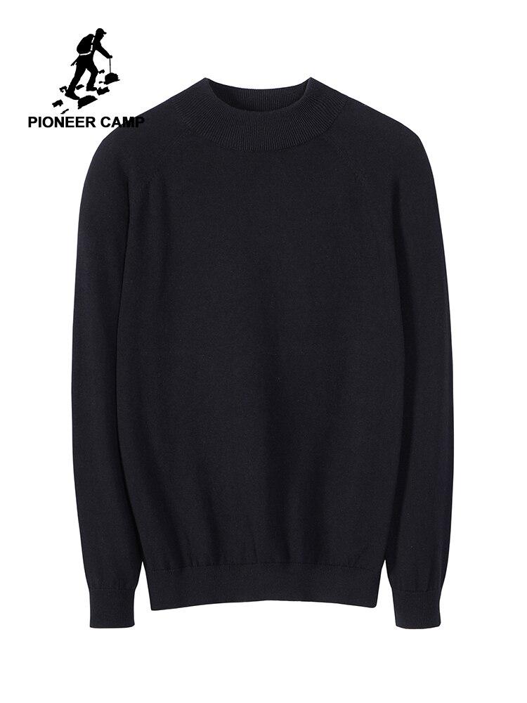 Pioneer Camp 2019 Sweater Male Plain Crew Neck Autumn 100% Cotton Men 4 Color AMS902282