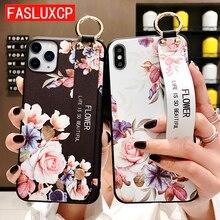 Для iPhone 11 чехол Модный цветочный держатель для телефона чехол для iPhone 8 Plus 6 6s 7 X XR XS 11 pro max Мягкий ТПУ ремешок чехол Etui