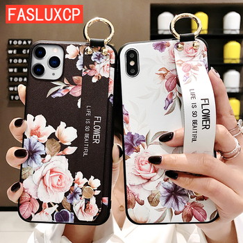 For iPhone 11 Case Fashion Flower Phone Holder Case for iPhone 8 Plus 6 6s 7 X XR XS 11 pro max Soft TPU Wrist Strap Cover Etui 1