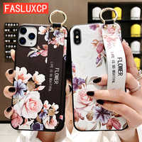 For iPhone 11 Case Fashion Flower Phone Holder Case for iPhone 8 Plus 6 6s 7 X XR XS 11 pro max Soft TPU Wrist Strap Cover Etui