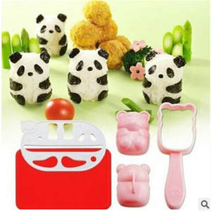 Rice Ball Molds Punch Sushi Rice Ball Mold Onigiri Mould DIY Sushi Maker Bazooka Bento Accessories 3D Panda Form Sushi Set