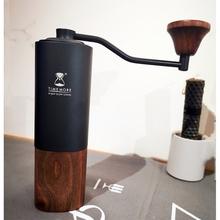 Składany ręczny młynek do kawy tytanowa stal ocynkowana wysokiej jakości ręcznie ziarna kawy młynki młynki domowe narzędzia kuchenne tanie tanio CN (pochodzenie) Space aluminum walnut Archiwalne coffee grinder