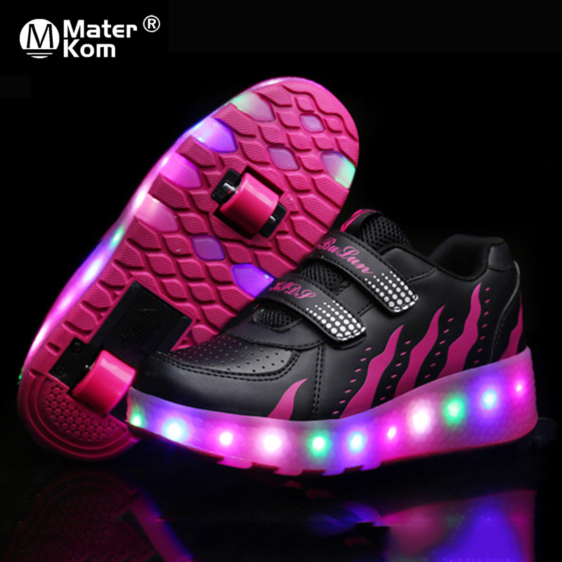 Size 28-43 Luminous Skate Shoes For Kids Girls Light Up Sneakers With Double Wheels Children Glowing Roller Shoes With LED Light