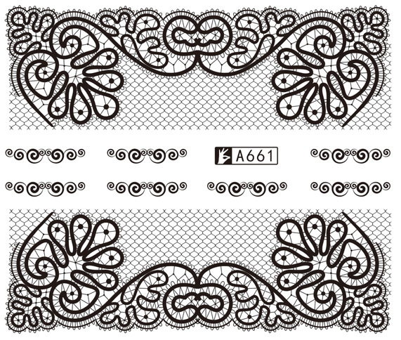 Fine A Door Manufacturers Direct Selling Black And White With Pattern Ultra-Fine Lace Nail Sticker South Korea Watermark Nail St