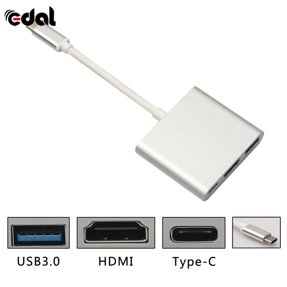 EDAL 3 in 1 Type-C USB 3.1 Male To <font><b>HDMI</b></font>/USB 3.0/Type C Female Convertor <font><b>15cm</b></font> HDTV Cable Adapter For Macbook S image