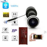 V380 Pro-cámara IP de seguridad para el hogar, 180 grados, Audio en red de vigilancia, P2P, ranura para tarjeta SD, 1080P, Ojo de la puerta