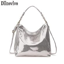 DIINOVIVO Luxury Brand Women Bag Leather Handbag Big Crossbody For Shoulder Ladies Silver Tote Hand WHDV1251
