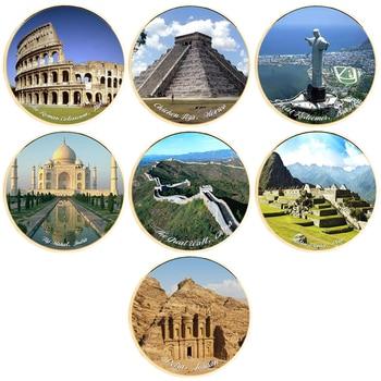 7 Uds. De monedas de Metal chapadas en oro de Seven Wonders of World, Colección decoración de hogar, juego de negocios Con adornos de arte