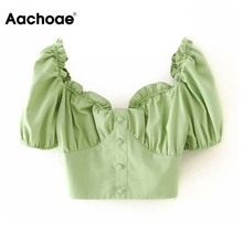 Aachoae Cotton Linen Cropped Blouses Women Chic Ruffle Short Sleeve Green Tops S