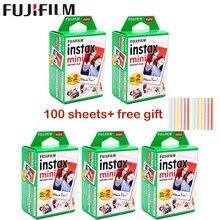 Fujifilm-películas para cámara instantánea instax mini 9, papel fotográfico de borde blanco de 3 pulgadas de ancho para cámara instantánea mini 8 9 7s 25 50s 90, 10-100 hojas