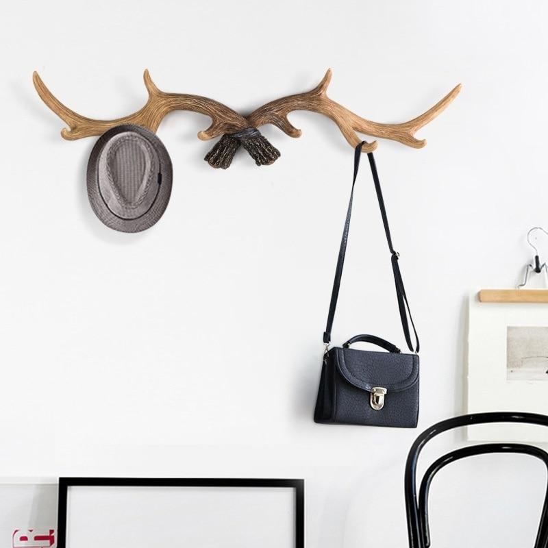 50cm*18cm Wall Hanger Rack Holder Antler Hook Hat Coat Bag Modern Nordic Deer Resin Decor Creative Home Decoration Accessories