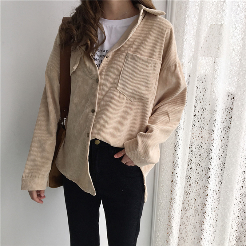 Autumn Warm Corduroy Shirt Fashion Vintage Long Sleeve Shirts Female Solid Color Batwing Sleeve Blouse With Pockets  Women Tops