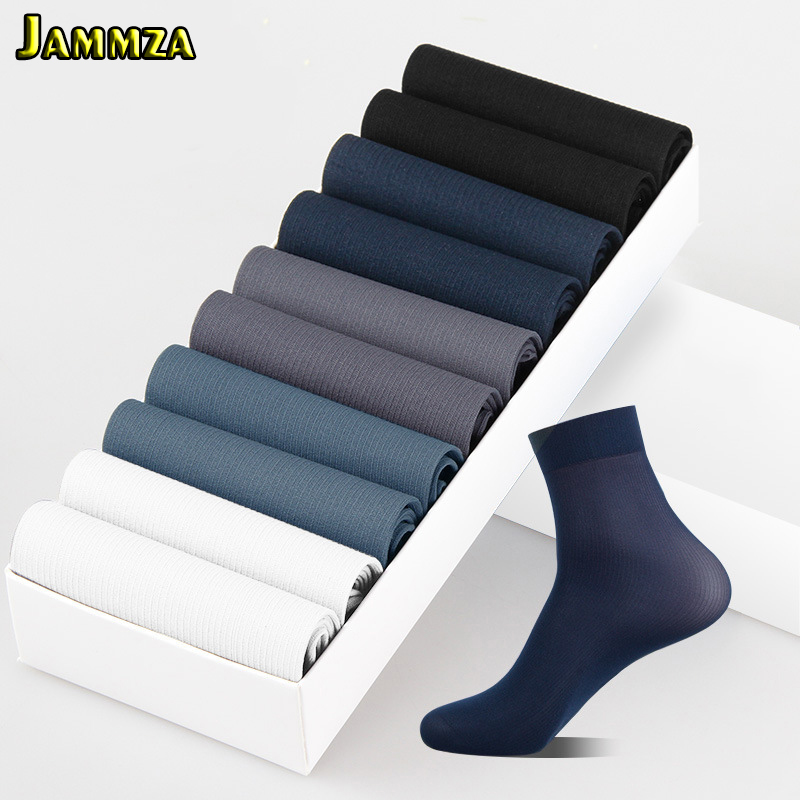 10Pairs/Lot Business Men Socks Black White Spring Summer Silk Socks Bamboo Fiber Breathable Sock Free Shipping(1pack=20 Pieces )
