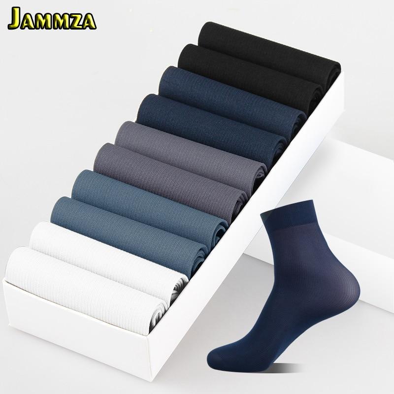 10Pairs/Lot Business Men Socks Black White Spring Summer Silk Socks Bamboo Fiber Breathable Sock Free Shipping(1pack=20 Pieces )