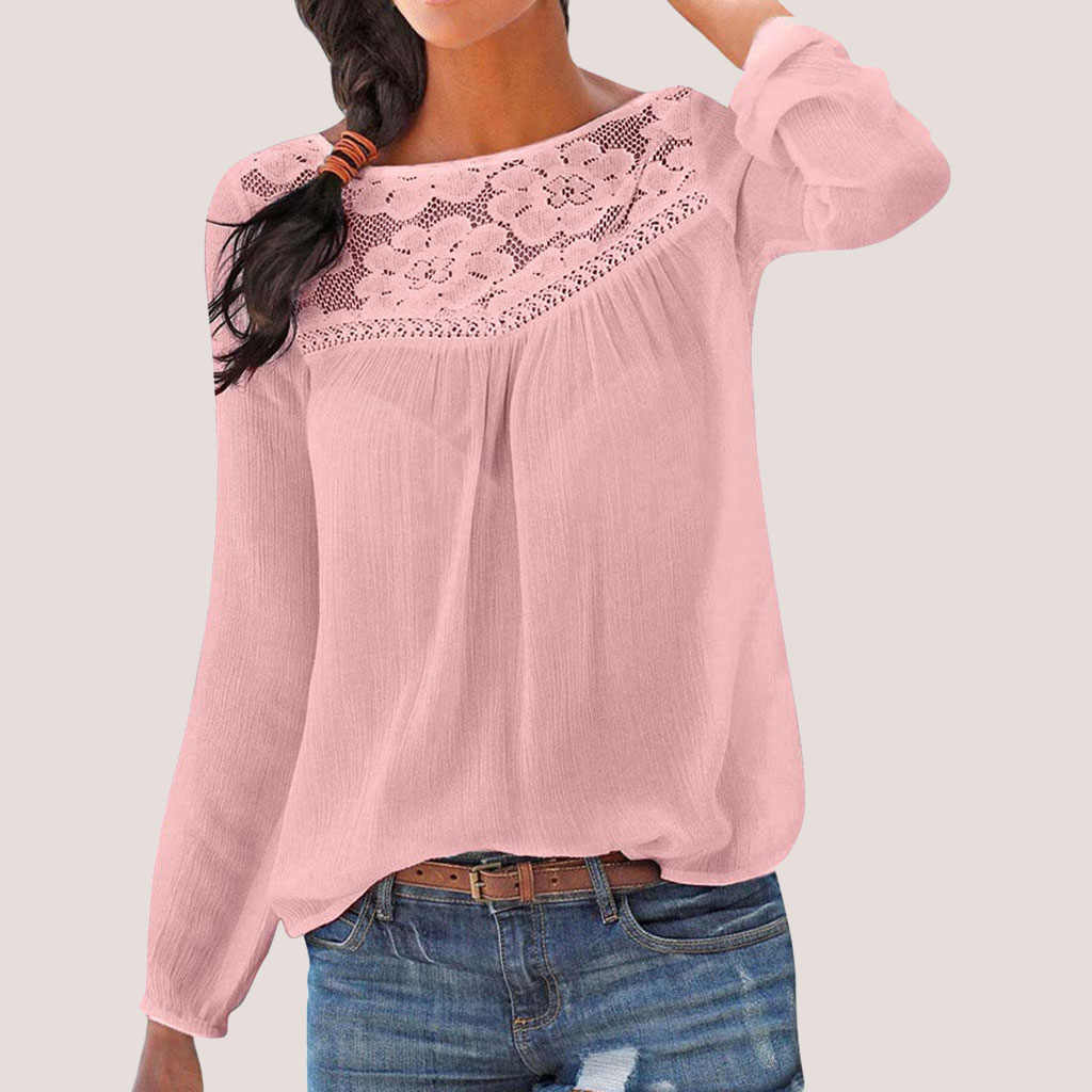 ลูกไม้ Patchwork เสื้อผู้หญิงแบบสบายๆเสื้อแขนยาวเสื้อสีทึบผู้หญิงขนาดใหญ่หลวมเสื้อผู้หญิง Blusas