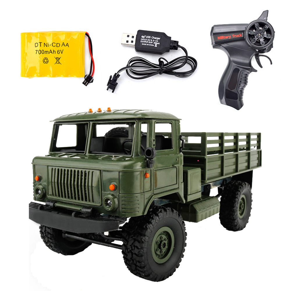WPL B-24 Remote Control Military Truck DIY Off-Road 4WD RC Car 4 Wheel Buggy Drive Climbing GAZ-66 Vehicle For Birthday Gift Toy