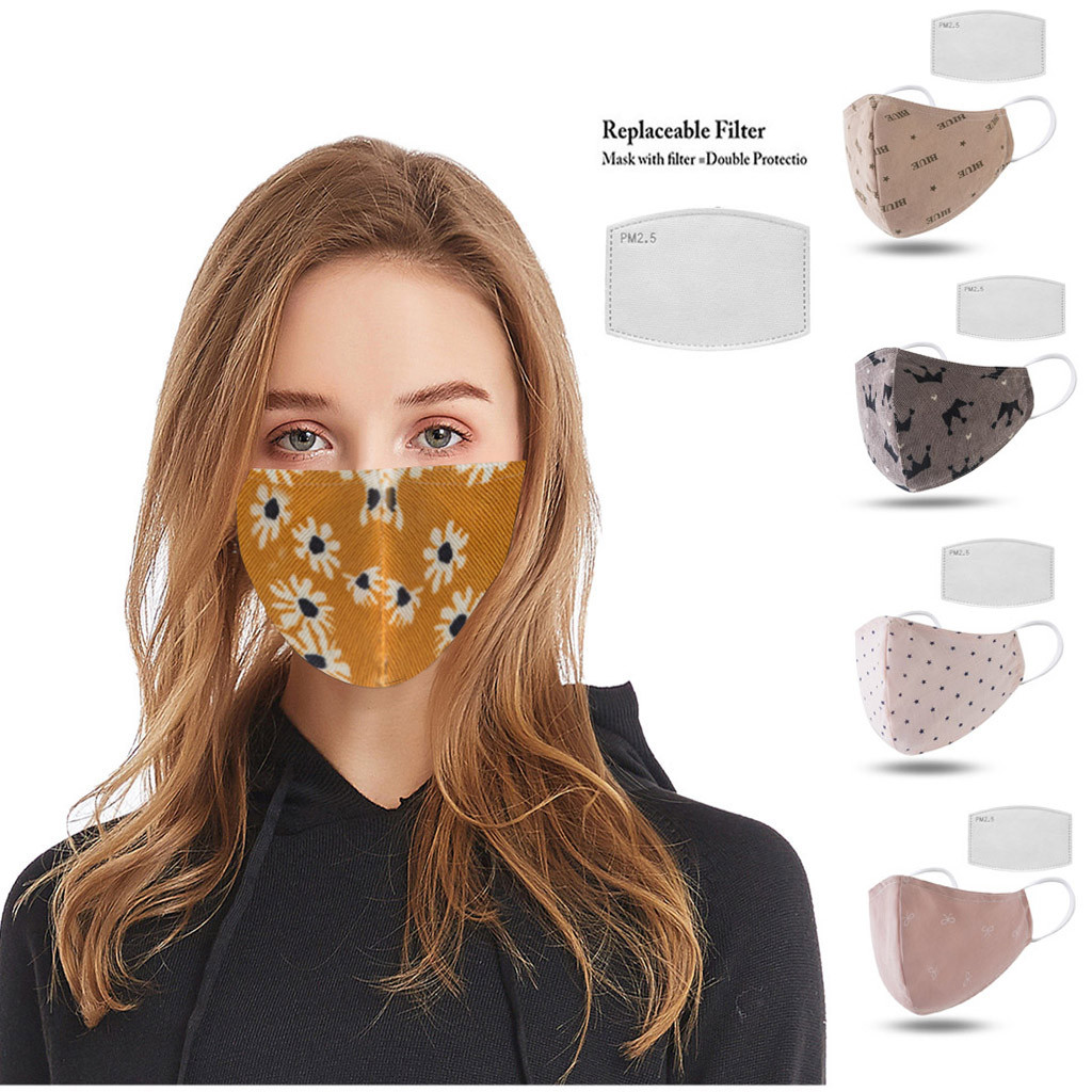 2pcs Unisex Mouth Muffle Black Dust With Filters Half Face Reusable Activated Carbon Dustproof Respirator Cotton
