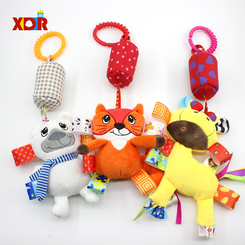 Cute Newborn Soft Plush Crib Hanging Rattle Toys For Crib Bed Stroller Cartoon Animal Hanging Rattle Doll Educational Toy Gift