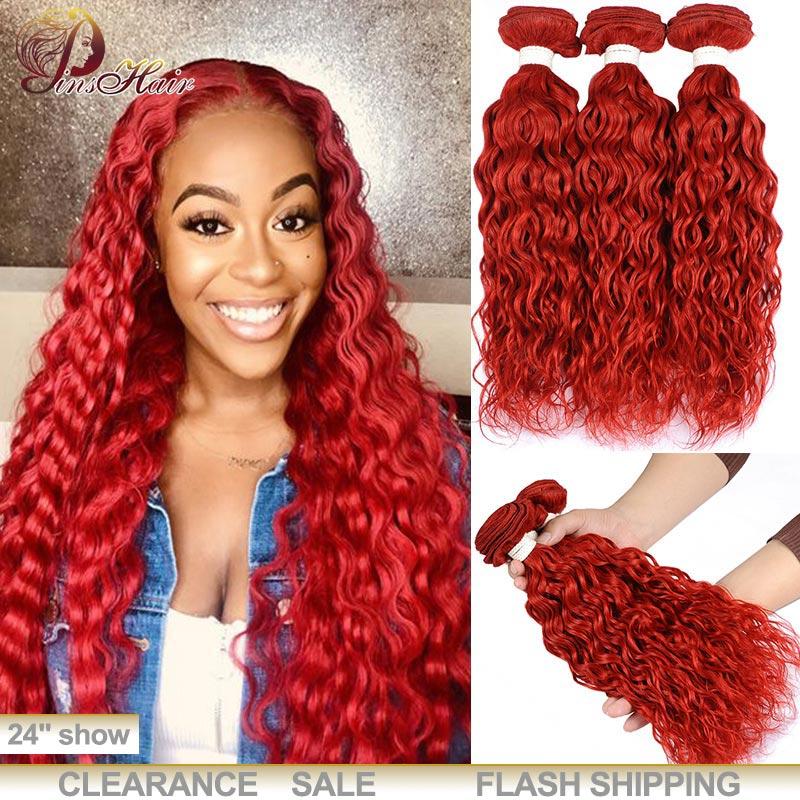 Burgundy Red Bundles Peruvian Water Wave Hair 3 Bundles 99J Red Human Hair Weave Extensions Thick Bundles 100 Remy Hair Pinshair