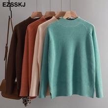 Повседневный осенне-зимний женский толстый свитер, пуловер с длинным рукавом, с разрезом сбоку, с круглым вырезом, шикарный свитер, женский тонкий вязаный Топ, мягкий джемпер
