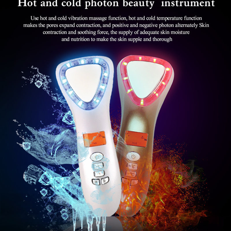 Ultrasonic Cryotherapy Hot Cold Hammer Face Lifting LED Light Photon Facial Massager Skin Care Wrinkle Remover machine