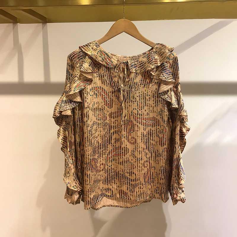 Vintage femmes en mousseline de soie blouse 2019 automne à manches longues floral imprimé blouse volants en mousseline de soie dame chemise Dot motif dame blouse