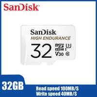 SanDisk Cartão microSD de vigilância por vídeo de Alta Resistência 32GB de Memória do telefone Móvel cartão de 128GB 64GB até 100 mb Cartão TF QQNR