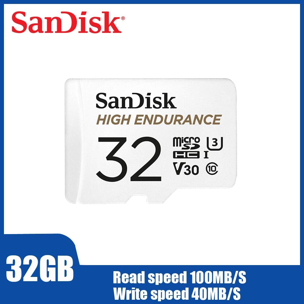Двойной Флеш накопитель SanDisk высокая выносливость видеонаблюдение microSD карта, 32 ГБ, мобильный карта памяти для телефона 128 Гб 64 Гб до 100 МБ/с. TF карты QQNR-in Карты памяти from Компьютер и офис on AliExpress