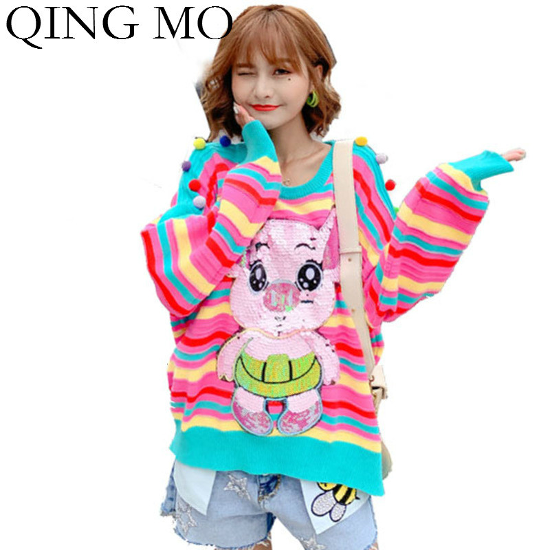 QING MO arc-en-ciel rayé femmes pull pull 2019 femmes Animal hiver pull avec Sequin beau pull coloré ZQY1734