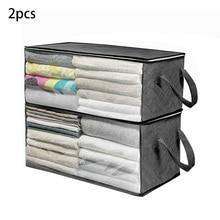 2pcs/set Closet Bag Portable Quilt Container Sweater Luggage Storage Box Moisture Proof Zipper Organizer Clothes Blanket Home